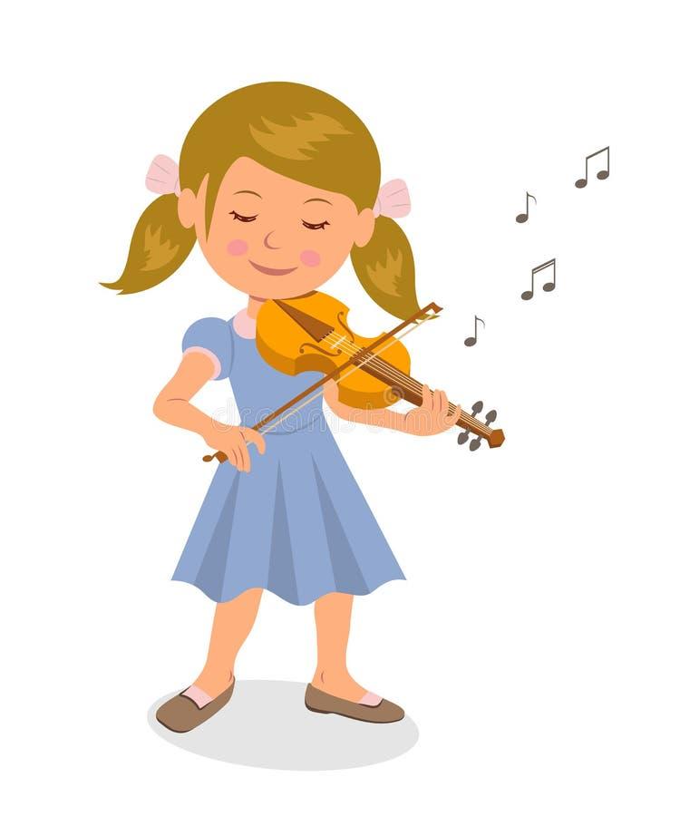 Leuk meisje die de viool spelen Geïsoleerd karaktermeisje met een viool op een witte achtergrond royalty-vrije illustratie