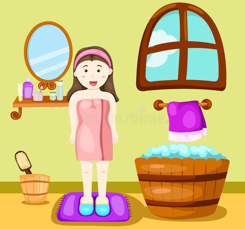 Leuk meisje die een bad nemen stock illustratie