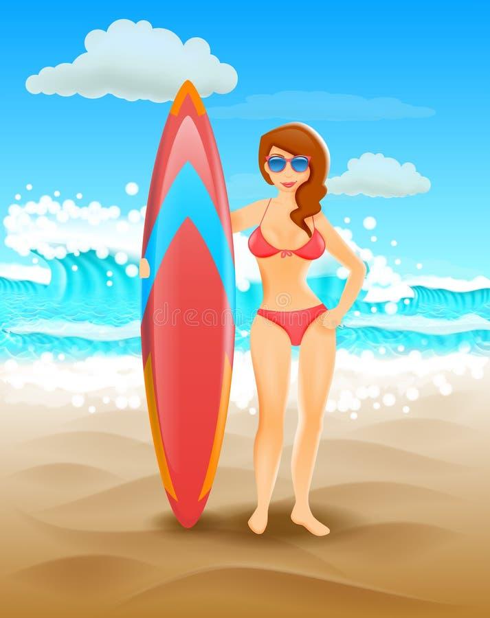 Leuk meisje die een surfplank op een zonnig strand houden Vector illustratie Kust vakantie en het surfen stock illustratie