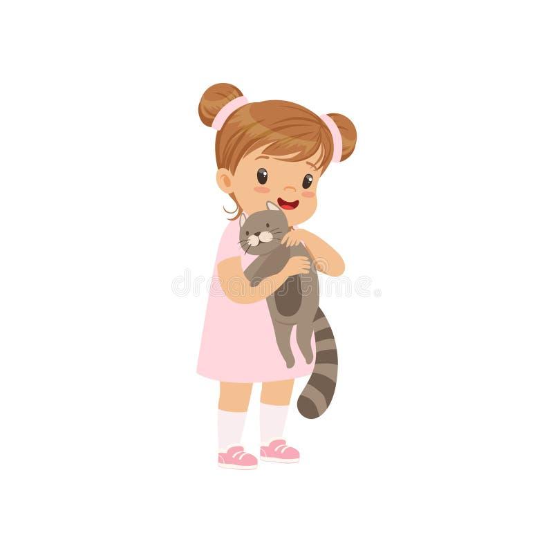 Leuk meisje die grijze kat in haar handen houden, jong geitje die voor haar huisdieren vectorillustratie geven op een witte achte royalty-vrije illustratie