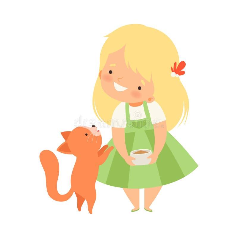 Leuk Meisje die Haar Katje, Aanbiddelijk Jong geitje voeden die voor Dierlijke Beeldverhaal Vectorillustratie geven vector illustratie