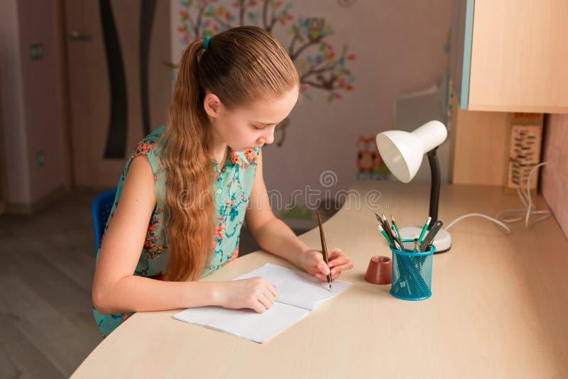Leuk meisje die haar thuiswerk schrijven royalty-vrije stock foto
