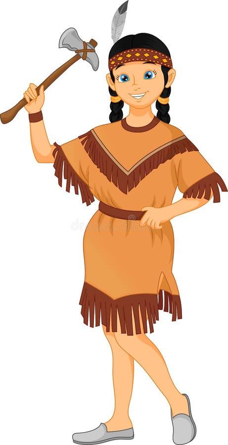 leuk meisje die inheems Amerikaans Indisch stammenkostuum dragen royalty-vrije illustratie