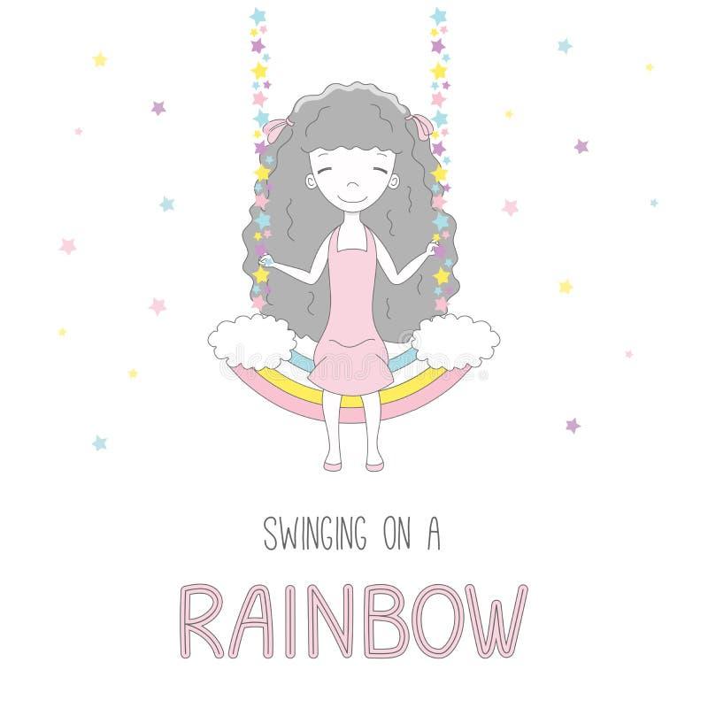 Leuk meisje die op een regenboog slingeren royalty-vrije illustratie