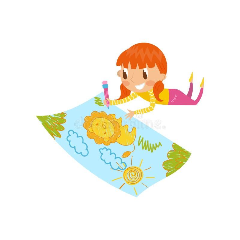 Leuk meisje die op haar maag liggen en met kleurenpotloden op het grote blad van document, jonge kunstenaar, jonge geitjes trekke stock illustratie