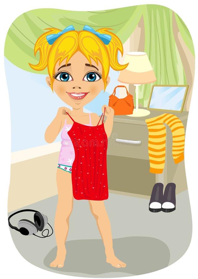 Leuk meisje die op rode kleding in haar slaapkamer proberen stock illustratie