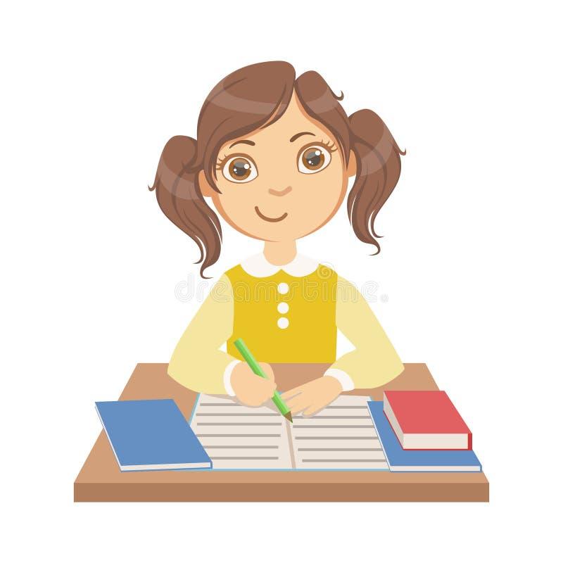 Leuk meisje die op school, een kleurrijk karakter schrijven stock illustratie