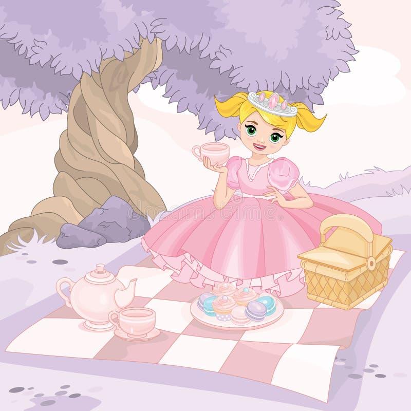 Leuk meisje die picknick in park hebben stock illustratie