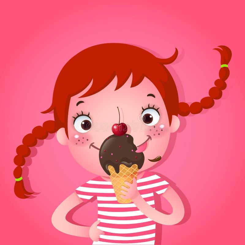 Leuk meisje die roomijs eten stock illustratie