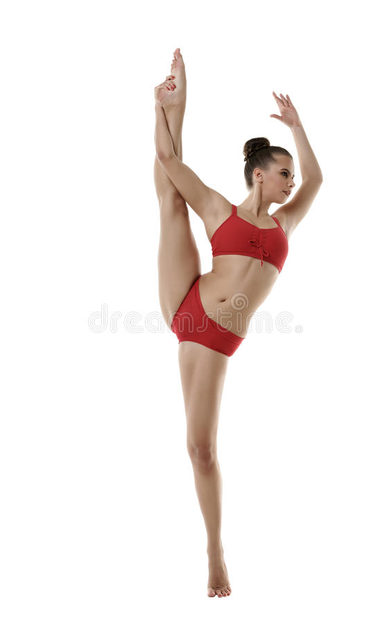 Leuk meisje die verticale die spleten doen, op wit worden geïsoleerd royalty-vrije stock foto