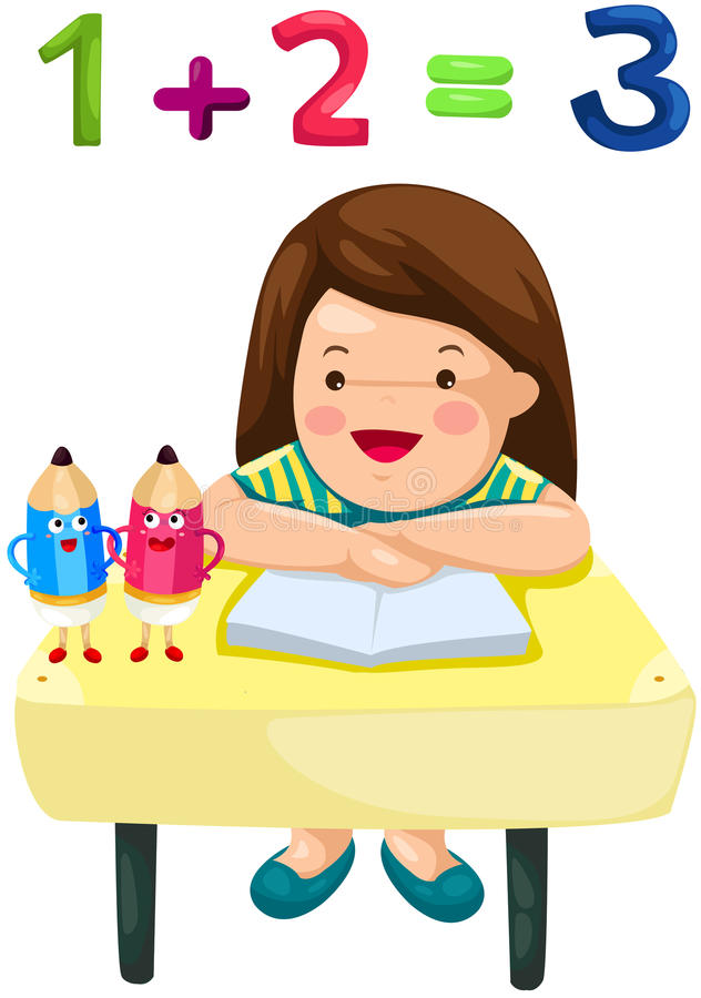 Leuk meisje die wiskunde bestuderen stock illustratie
