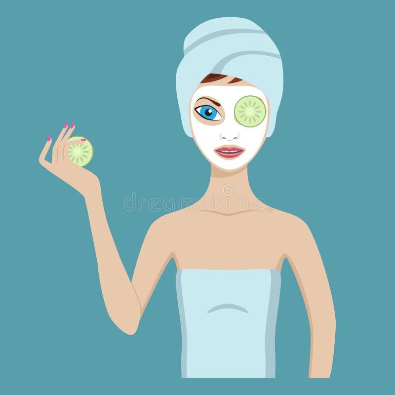 Leuk meisje in een kosmetisch masker vector illustratie