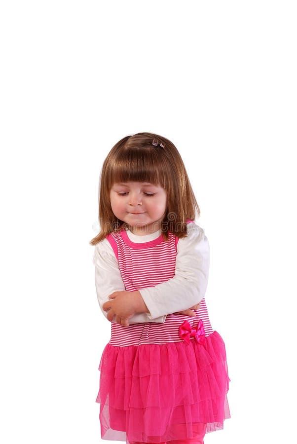 Leuk meisje in een roze kleding royalty-vrije stock foto's