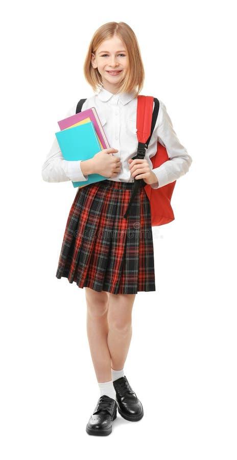 Leuk meisje in eenvormige school stock afbeeldingen