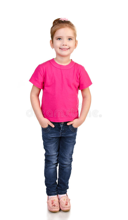 Leuk meisje in jeans en geïsoleerde? t-shirt stock foto