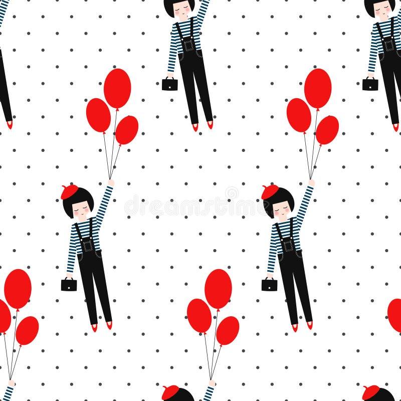 Leuk meisje met ballons naadloos patroon op stipachtergrond stock illustratie