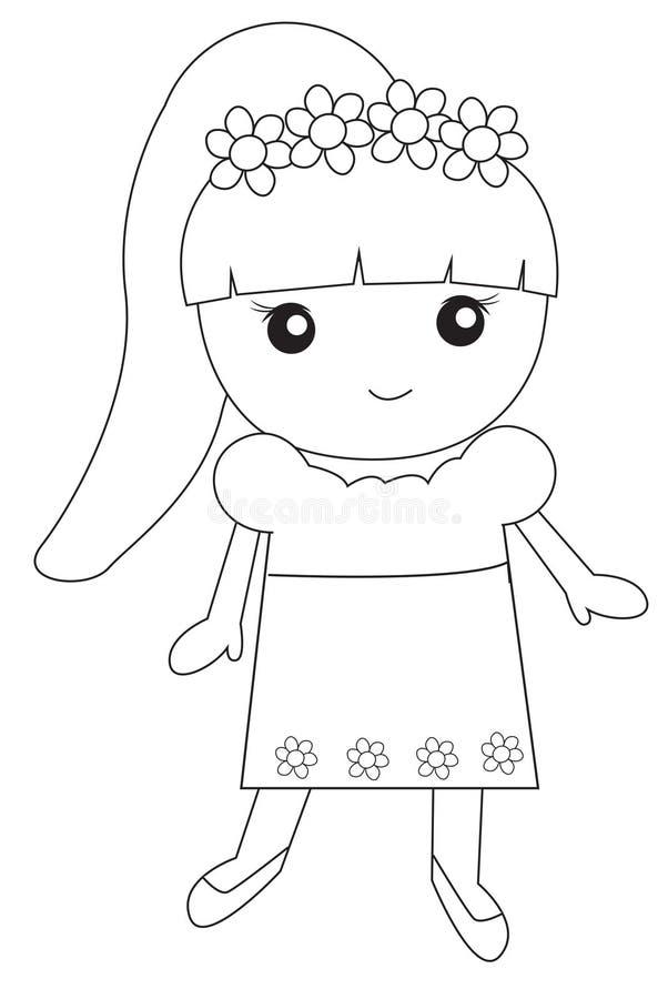 Leuk meisje met bloemen royalty-vrije illustratie