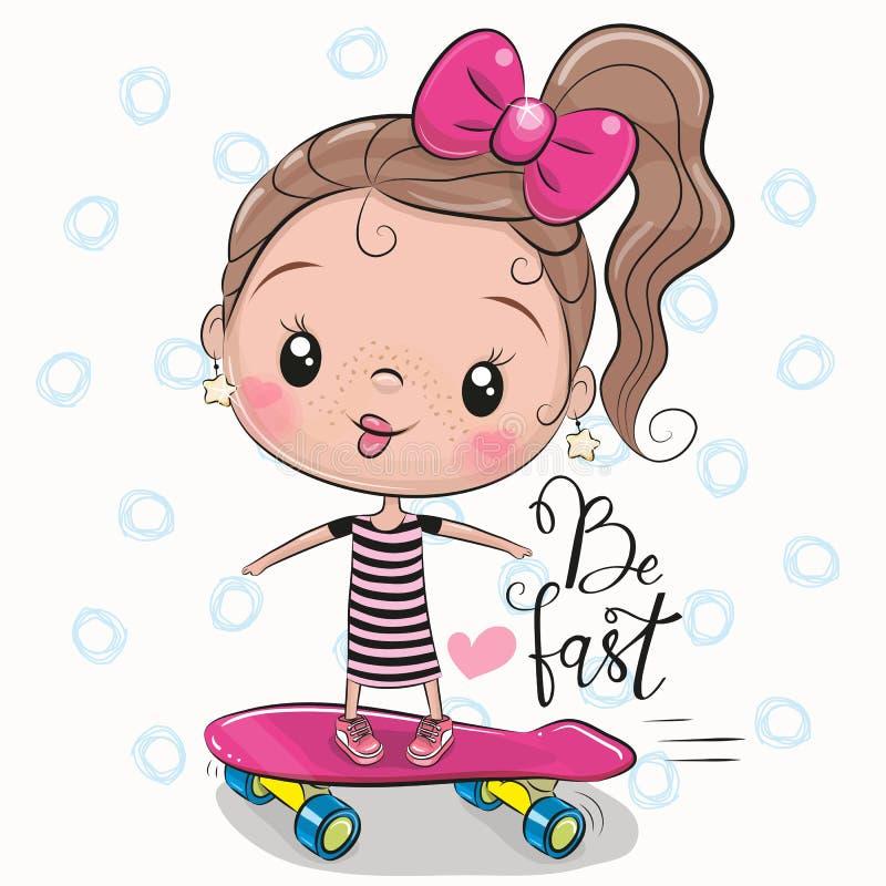 Leuk Meisje met een roze boog vector illustratie