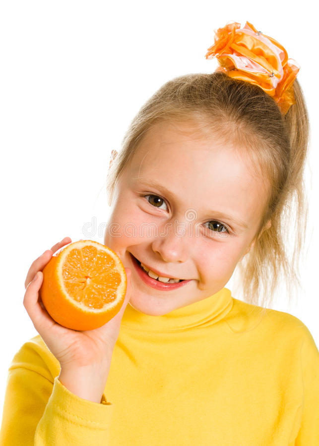 Download Leuk Meisje Met Een Sinaasappel In Zijn Hand Stock Foto - Afbeelding bestaande uit zorg, gezond: 29503700