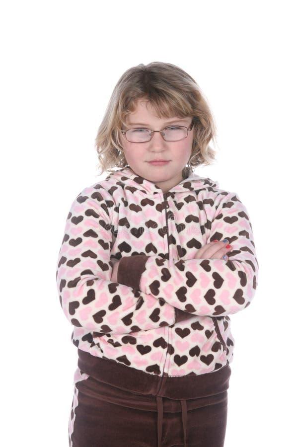 Leuk meisje met gekruiste glazen en wapens royalty-vrije stock foto