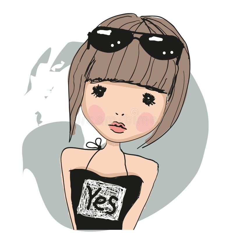 Leuk meisje met glazen royalty-vrije illustratie