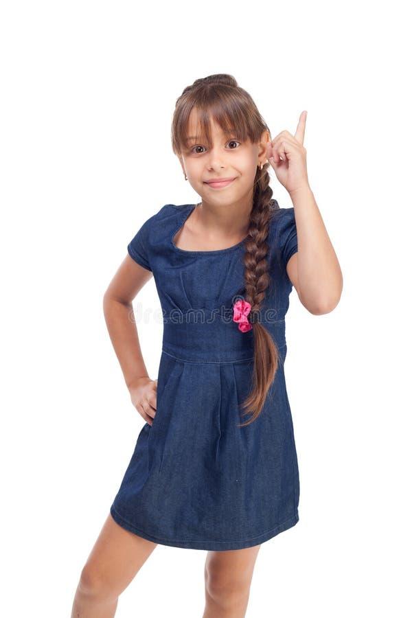 Leuk meisje met omhoog vinger royalty-vrije stock afbeelding