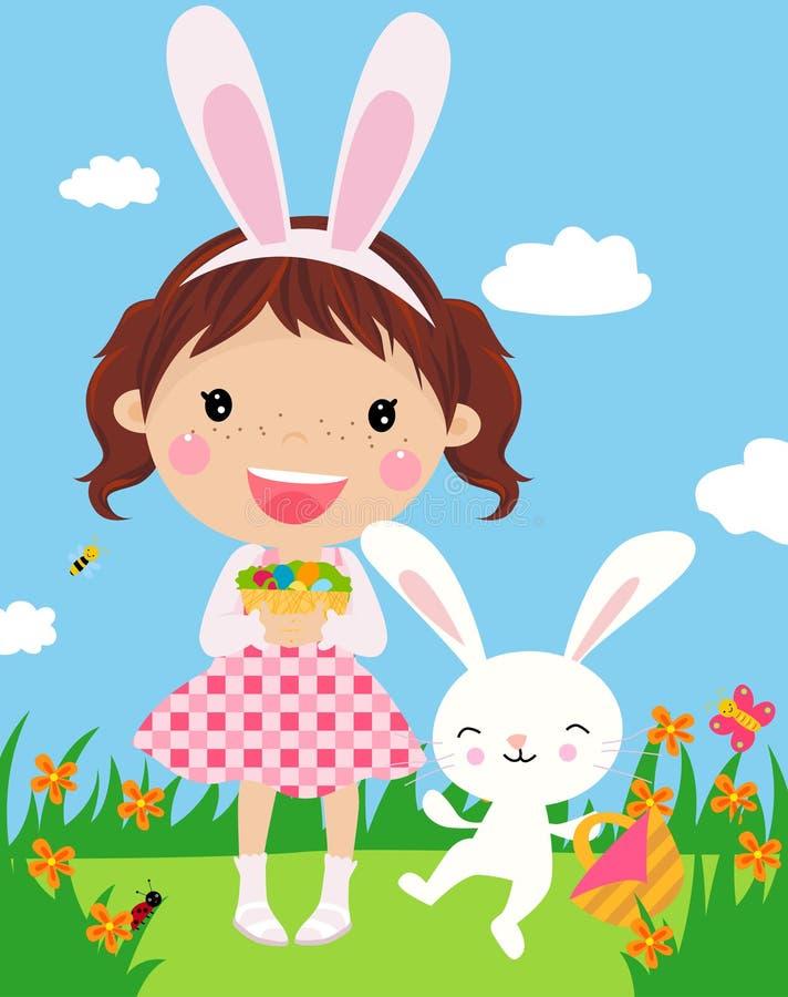 Leuk meisje met Pasen konijntje en verfraaide eieren.