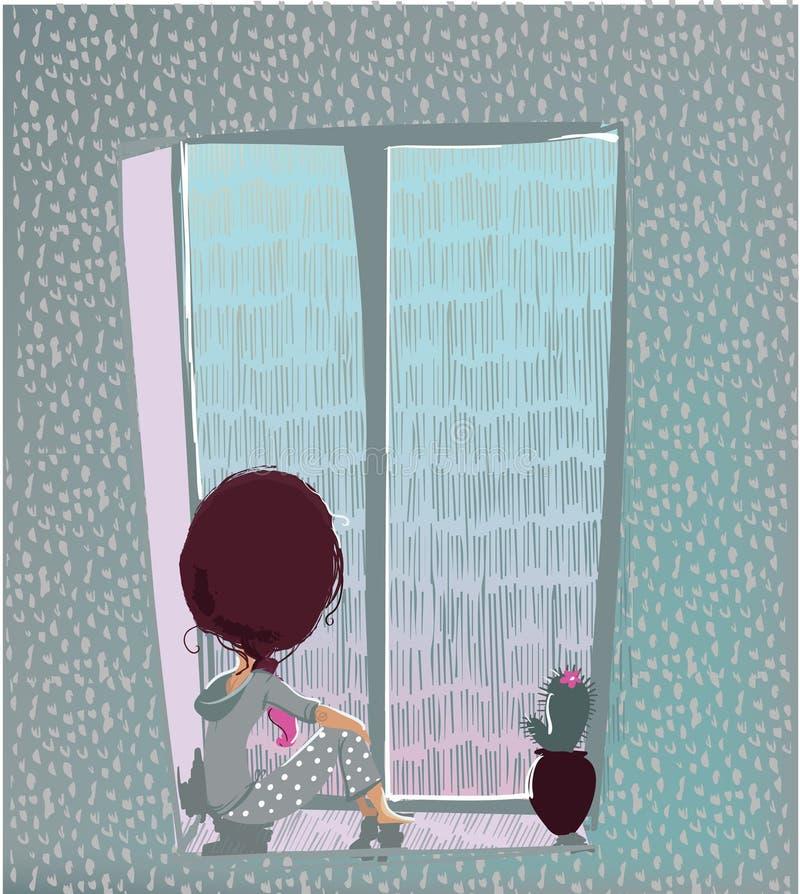 Leuk meisje met regenachtig venster royalty-vrije illustratie