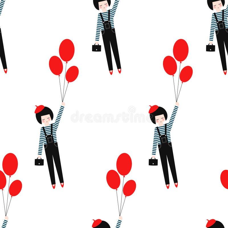 Leuk meisje met rood ballons naadloos patroon op witte achtergrond vector illustratie