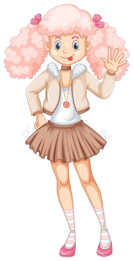 Leuk meisje met roze haar royalty-vrije illustratie