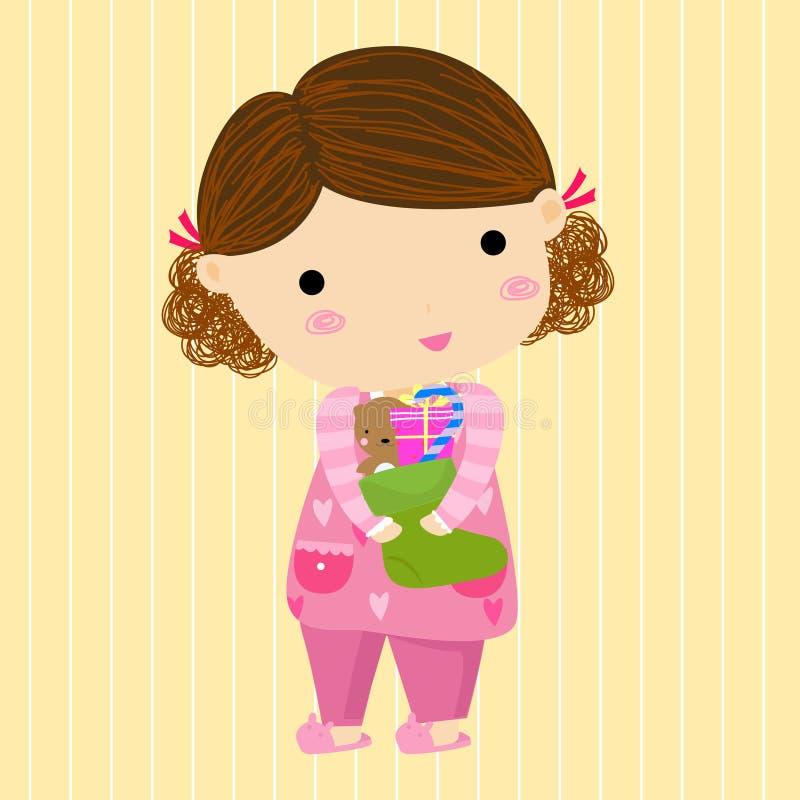 Leuk meisje met sok, Kerstmis vector illustratie