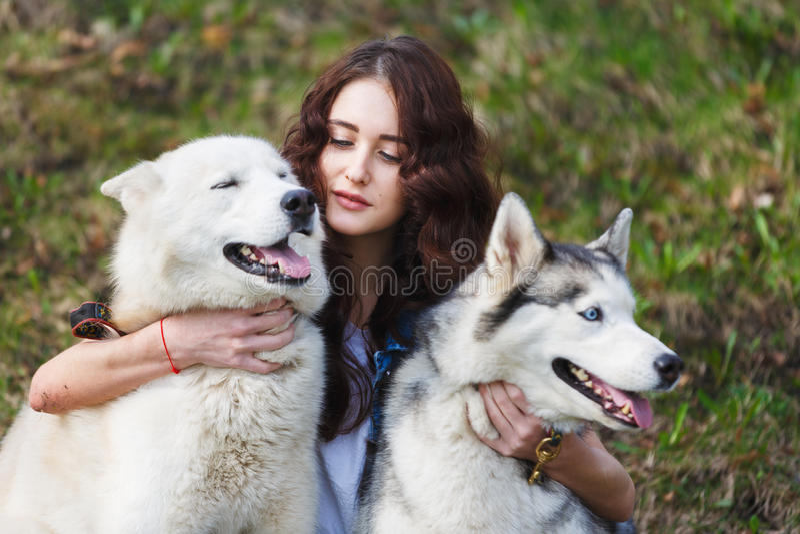 Leuk meisje met twee schor honden royalty-vrije stock foto