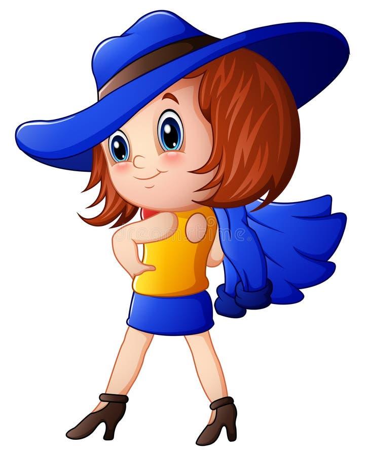Leuk meisje in modieuze kleren royalty-vrije illustratie