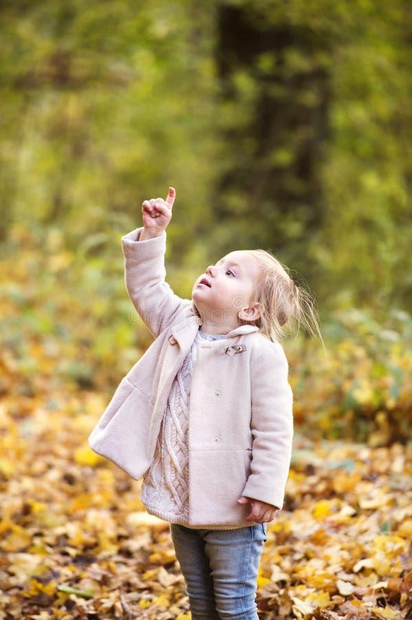 Leuk meisje in roze laag in de herfstbos stock fotografie
