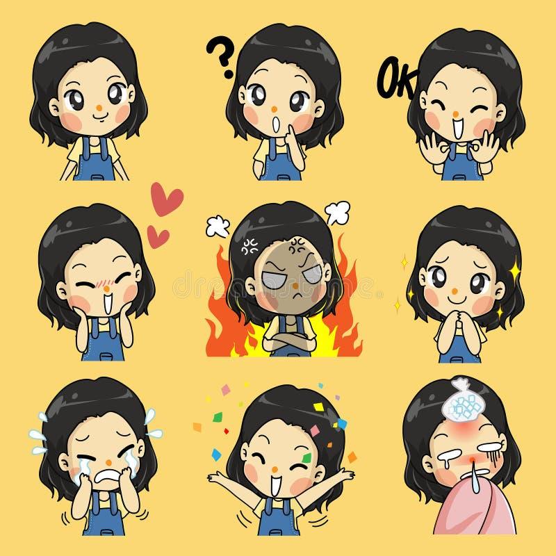 Leuk meisje vele emotieactie vector illustratie