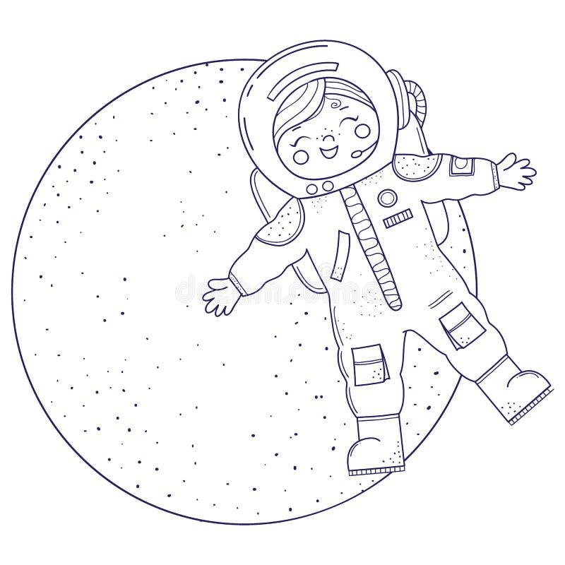Leuk meisje voor het kleuren van boek Meisje in de vliegen van het astronautenkostuum royalty-vrije illustratie