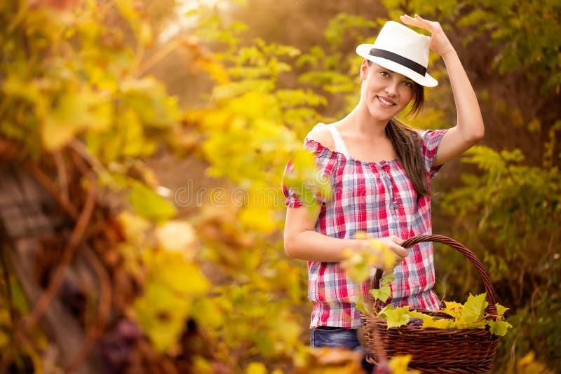 Leuk meisje in wijngaard royalty-vrije stock foto's