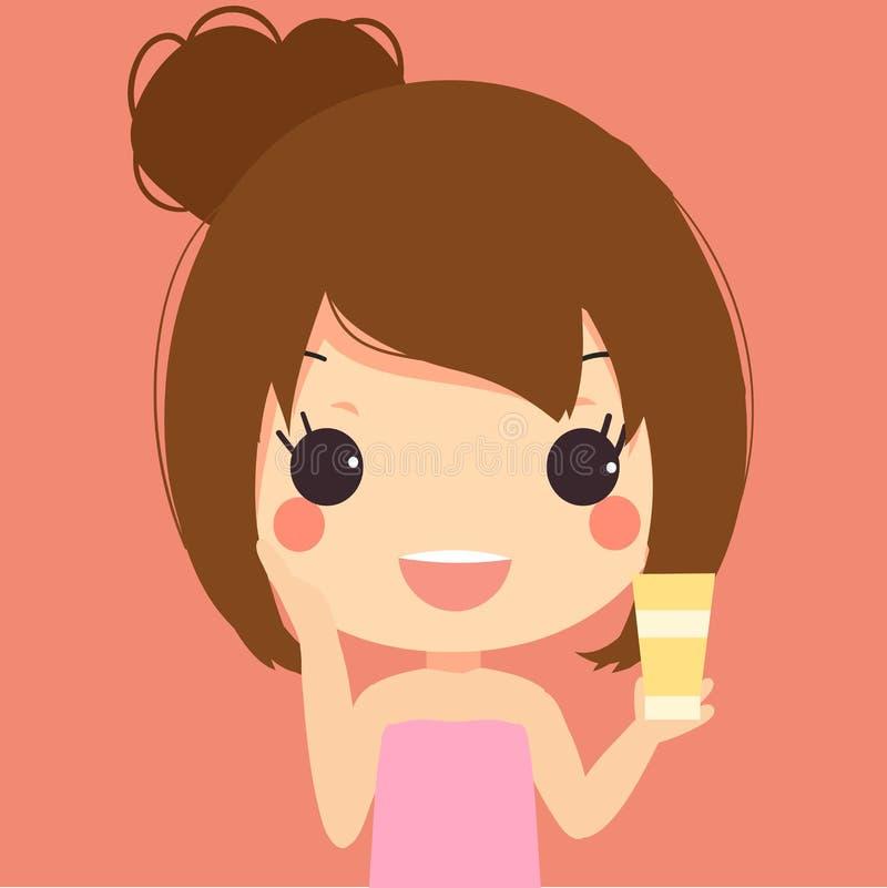 Leuk meisjes schoon gezicht stock afbeelding