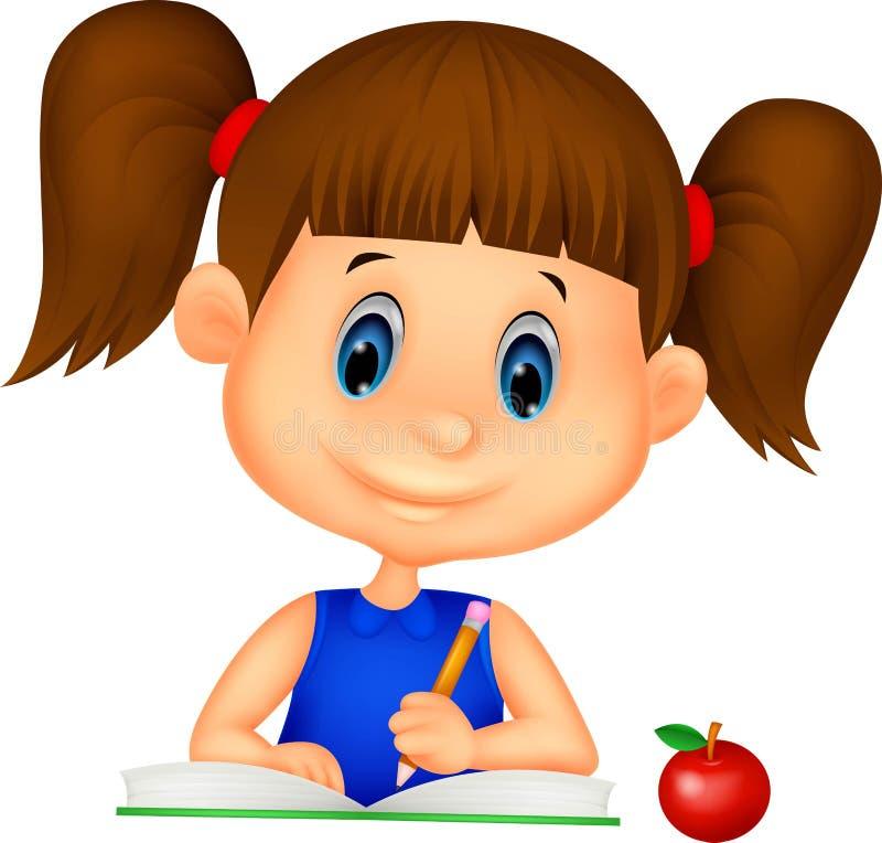 Leuk meisjesbeeldverhaal die op een boek schrijven vector illustratie