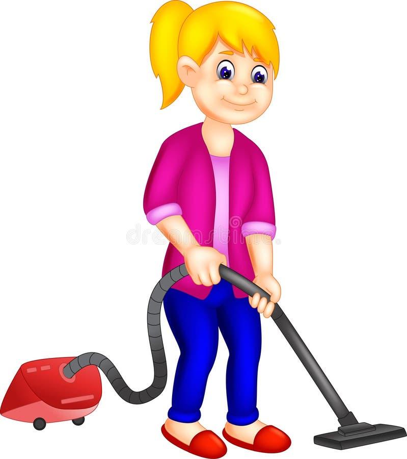 Leuk meisjesbeeldverhaal die schoonmakend vloer die vacumreinigingsmachine met behulp van bevinden zich vector illustratie