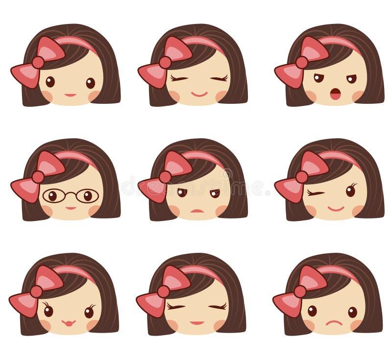 Leuk meisjesgezicht met rode boog die de verschillende emoties vectorillustratie tonen Vectorreeks van emoji en emoticons royalty-vrije illustratie