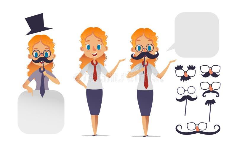 Leuk meisjeskarakter met glazen, diverse vormsnorren, en hoed Snoraannemer Movemberkarakter Vector royalty-vrije illustratie