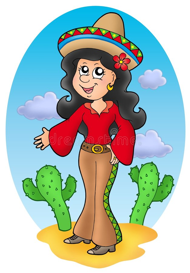 Leuk Mexicaans meisje in woestijn royalty-vrije illustratie