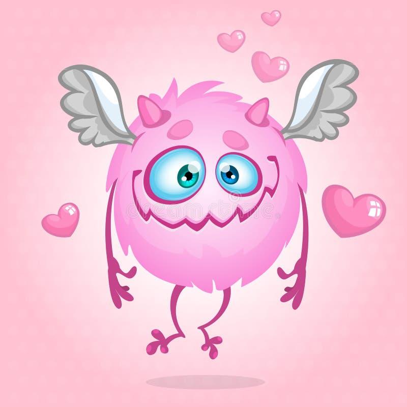 Leuk monster in liefde Illustratie voor St de Dag van de Valentijnskaart Vector royalty-vrije illustratie