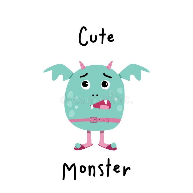 Leuk monster voor Halloween-ontwerp Eenvoudige vectorillustratie royalty-vrije illustratie