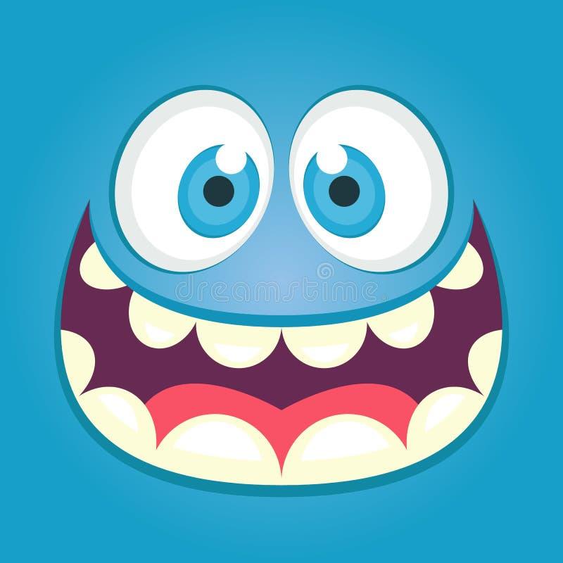 Leuk monstergezicht Vierkante avatar vector illustratie