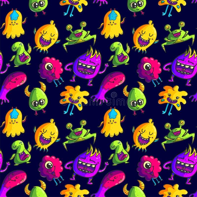 Leuk monsters naadloos patroon stock illustratie