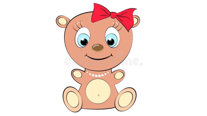 Leuk, mooi, bruin beermeisje met groot hoofd met boog en parelhalsband en blauwe ogen op witte ruimte als achtergrond en exemplaa stock illustratie