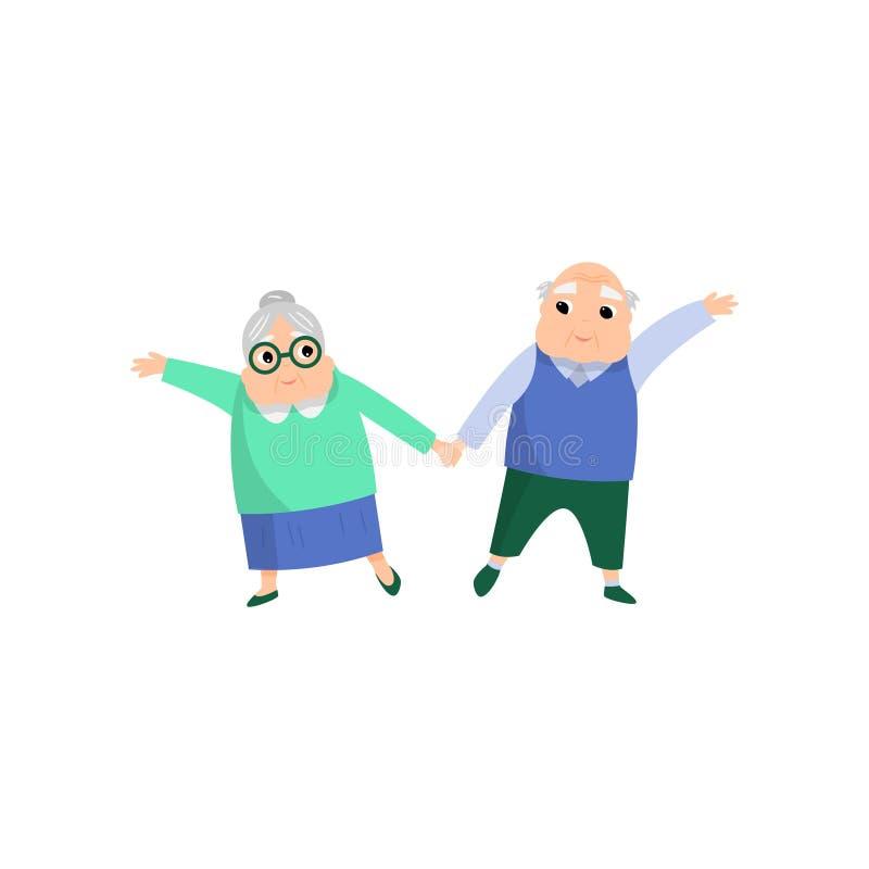 Leuk mooi hoger paar van vrouw en man het dansen stock illustratie