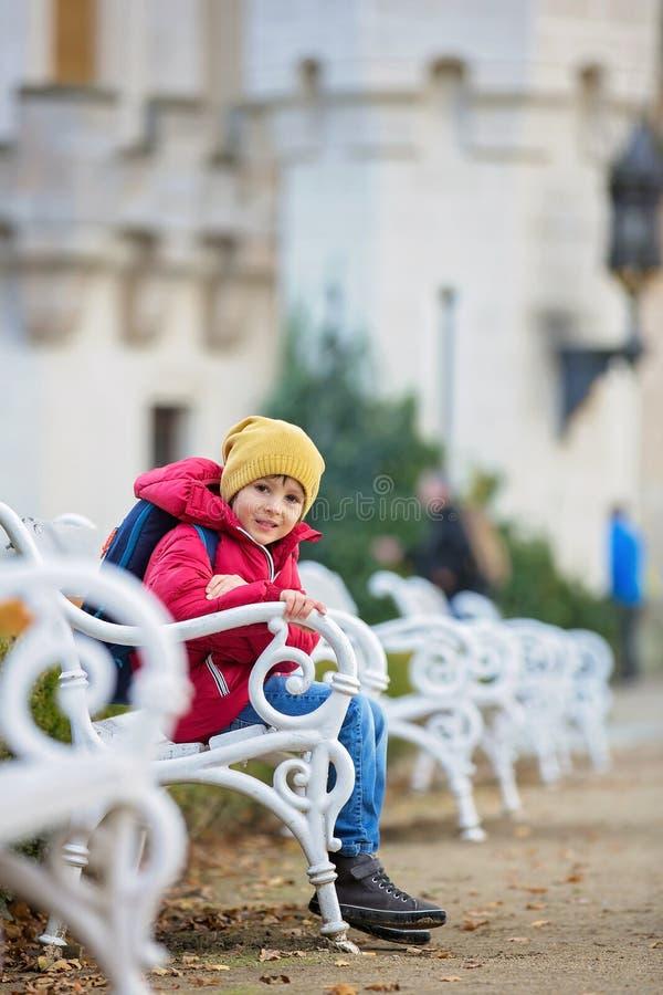Leuk mooi kind, jongen, die op een bank voor beauti zitten royalty-vrije stock afbeelding